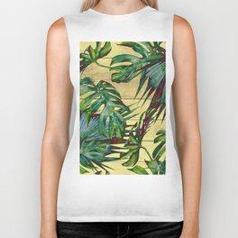 Tropical Palm Leaves on Wood Biker Tank