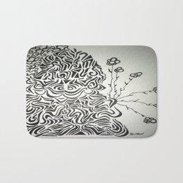 Buddha Blossoms Ink Doodle Bath Mat