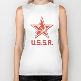 star, crossed hammer and sickle - ussr poster (socialism propaganda) Biker Tank