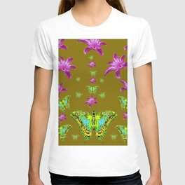 PURPLE LILIES BLUE-GREEN-YELLOW PATTERNED MOTHS T-shirt