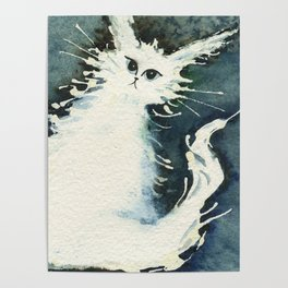 Frosty Whimsical White Cat Poster