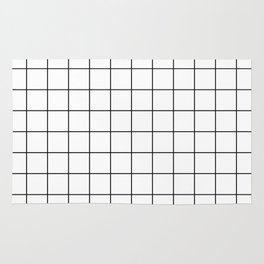 Grid Simple Line White Minimalist Rug