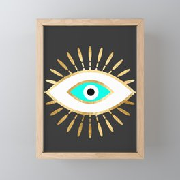 evil eye gold foil print Framed Mini Art Print