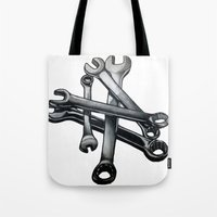 tool Tote Bags featuring Tool by LewisLeathers
