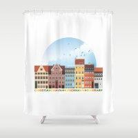 copenhagen Shower Curtains featuring Copenhagen by HOONISME