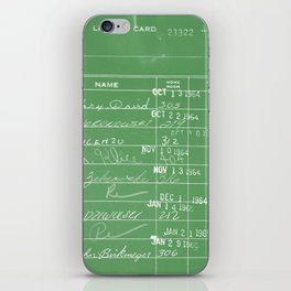 Library Card 23322 Negative Green iPhone Skin