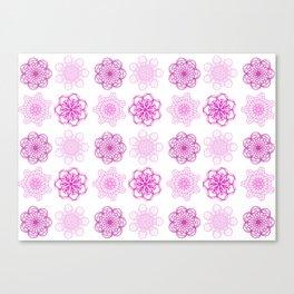 Pretty in Pink, pink geometric flower mandalas Canvas Print