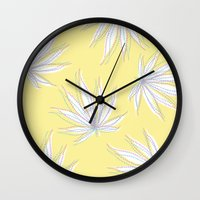 weed Wall Clocks featuring weed by Estelle F