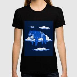 Cute Cartoon Animal Art Baby Sloth Sleeping In Clouds In Blue T-shirt