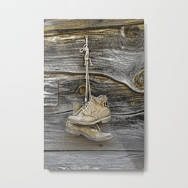 Old Boots Hanging on a Nail Metal Print