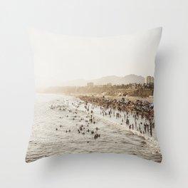People Watching Santa Monica,California Throw Pillow