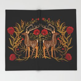 Two Stags Protecting The Dark Forest Gate Throw Blanket