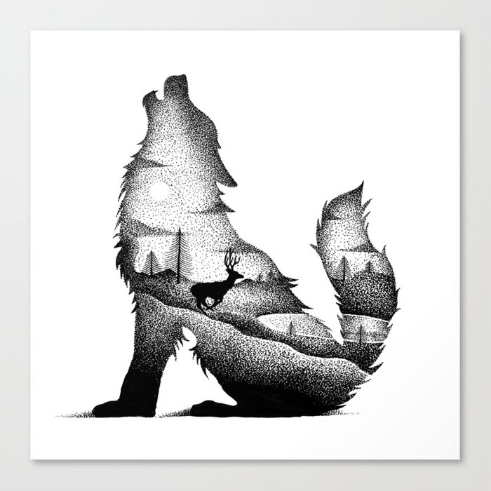 THE WOLF AND THE DEER Canvas Print