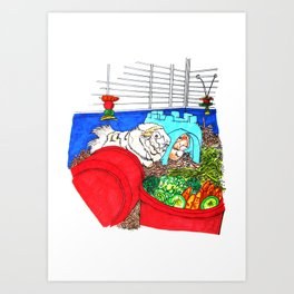 Guinea Pigs In A Cage Art Print