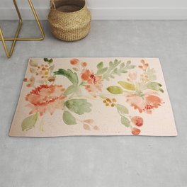 Fall Bouquet - Watercolor Peonies Rug