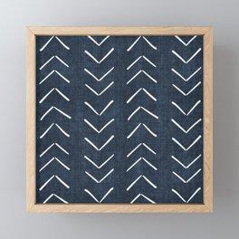 Mud Cloth Big Arrows in Navy Framed Mini Art Print