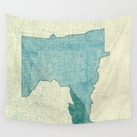 minnesota Wall Tapestries featuring Minnesota State Map Blue Vintage by City Art Posters