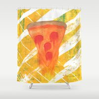 pizza Shower Curtains featuring Pizza by Angelz