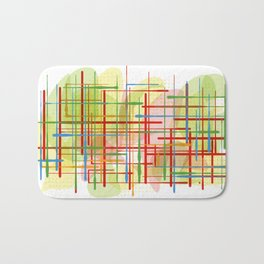 Abstract Lines Shapes Green and Yellow Bath Mat