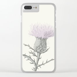 PASTEL THISTLE FLOWER Clear iPhone Case