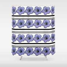 Flowers and stripes Shower Curtain
