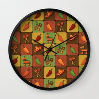 mexican Wall Clocks featuring Mexican Squares by Matt Andrews