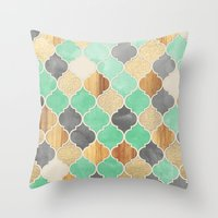 bedding Throw Pillows featuring Charcoal, Mint, Wood & Gold Moroccan Pattern by micklyn