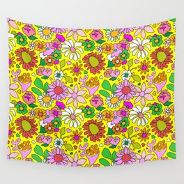 60's Lovers Floral in Sunshine Yellow Wall Tapestry
