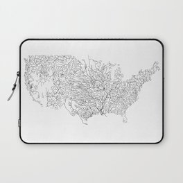 US River Map, River art, American River Map, Hydrological Map Laptop Sleeve