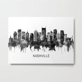 Nashville Tennessee Skyline BW Metal Print