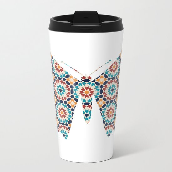 BUTTERFLY SILHOUETTE WITH PATTERN Metal Travel Mug