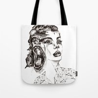 evolution Tote Bags featuring Evolution by LNNDESIGN