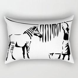 Banksy, A Woman Washing Zebra Stripes Artwork Reproduction, Posters, Tshirts, Prints Rectangular Pillow