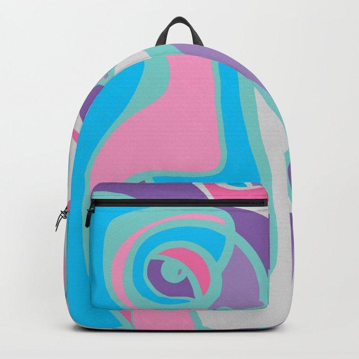 pink purple blue jordan eismont drawing drool rework digital collage  Backpack