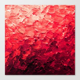 MERMAID SCALES 4 Red Vibrant Ocean Waves Splash Crimson Strawberry Summer Ombre Abstract Painting Canvas Print