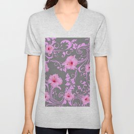 DECORATIVE  PINK AMARYLLIS BROCADE FLORAL GREY ART Unisex V-Neck