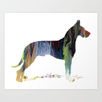 great dane Art Prints featuring Great Dane by Mordax Furittus