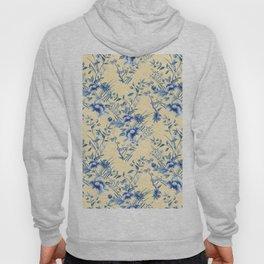 Chinoiserie Flowers Blue on Lemon Honey Creme Hoody