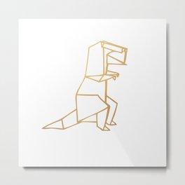 Dinosaur Origami (gold) Metal Print
