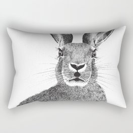 'The March Hare' stippling drawing Rectangular Pillow