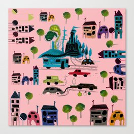 CityView pink Canvas Print