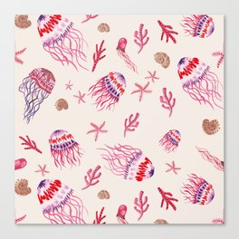 Jellyfish in Magenta Canvas Print
