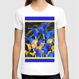 BLUE-BLACK MODERN ABSTRACT BLUE & GOLD CALLA LILIES T-shirt