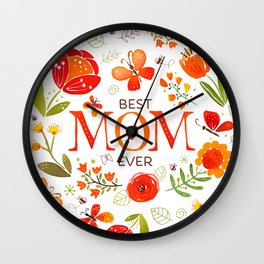 Mother's Day Watercolor Flowers and Butterflies Wall Clock