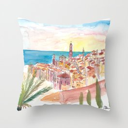 Sunset Over Menton France Provence Throw Pillow