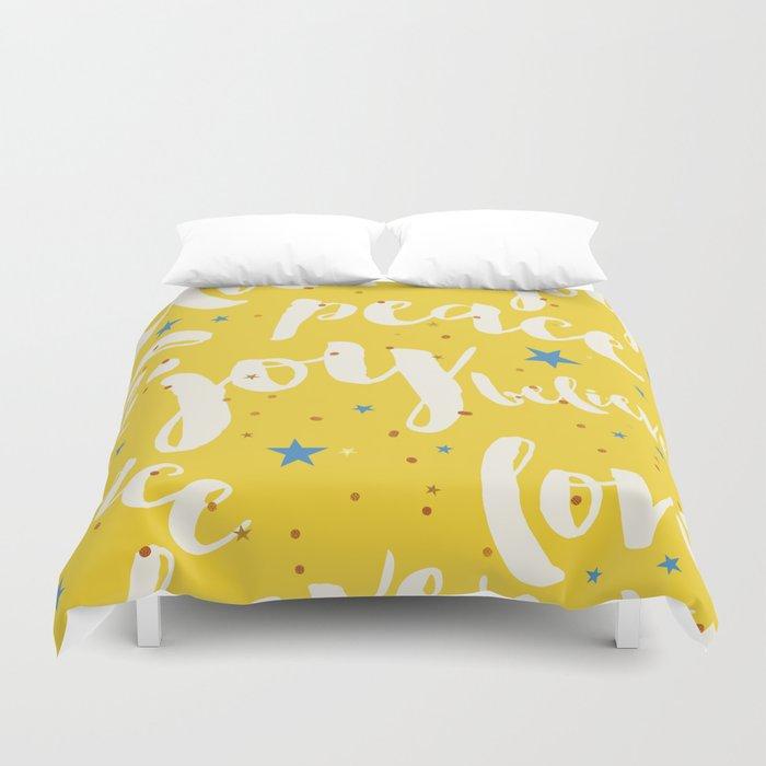 Peace & Joy Typography Yellow Background Duvet Cover