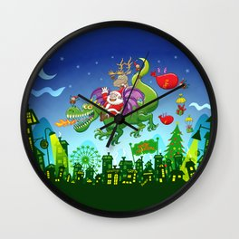 Santa changed his reindeer for a dragon Wall Clock