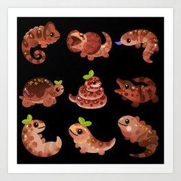 Chocolate Reptiles - dark Art Print