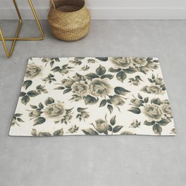 Country chic vintage black white bohemian floral Rug