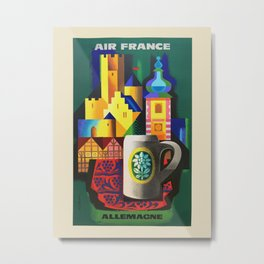 Air France. Vintage travel advertising poster to promote travel to Germany. Jacques Nathan-Garamond 1955 Metal Print